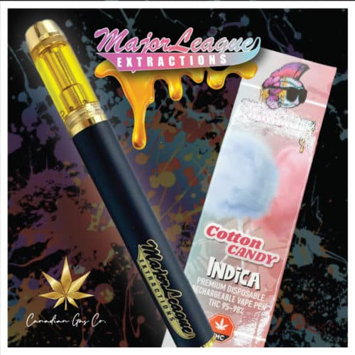 major league vape pens cotton candy 1 - Major League 1.1G Premium Disposable Pens Cotton Candy (Indica) Weed Delivery Toronto - Cannabis Delivery Toronto - Marijuana Delivery Toronto - Weed Edibles Delivery Toronto - Kush Delivery Toronto - Same Day Weed Delivery in Toronto - 24/7 Weed Delivery Toronto - Hash Delivery Toronto - We are Kind Flowers - Premium Cannabis Delivery in Toronto with over 200 menu items. We're an experienced weed delivery in Toronto and we deliver all orders in a smell-proof, discreet package straight to your door. Proudly Canadian and happy to always serve you. We offer same day weed delivery toronto, cannabis delivery toronto, kush delivery toronto, edibles weed delivery toronto, hash delivery toronto, 24/7 weed delivery toronto, weed online delivery toronto